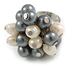 Grey/ Cream Faux Pearl Bead Cluster Ring in Silver Tone Metal - Adjustable 7/8