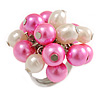 Pink/ Cream Faux Pearl Bead Cluster Ring in Silver Tone Metal - Adjustable 7/8