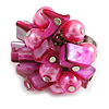 Shell Nugget and Faux Pearl Cluster Bead Silver Tone Ring in Pink - 7/8 Size - Adjustable