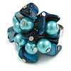 Shell Nugget and Faux Pearl Cluster Bead Silver Tone Ring in Teal/ Light Blue - 7/8 Size - Adjustable