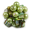 Shell Nugget and Faux Pearl Cluster Bead Silver Tone Ring in Green - 7/8 Size - Adjustable
