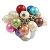 Multicoloured Faux Pearl Bead Cluster Ring in Silver Tone Metal - Adjustable 7/8