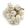 White Faux Pearl Bead Cluster Ring in Silver Tone Metal - Adjustable 7/8