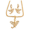 Gold Plated Clear Crystal Dragon Costume Jewellery Set