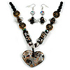 Black Glass Heart Fashion Necklace & Earrings