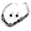 Stunning Glass Beaded Necklace&Earring Set (Black & Clear)