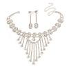 Treasured Heirloom Bib Necklace And Drop Earring Set (Silver Tone)