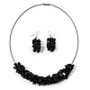 Black Nugget Cluster Choker And Drop Earrings Set (Black Tone)
