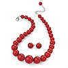 Hot Red Acrylic Bead Choker Necklace And Stud Earring Set (Silver Tone) - 34cm L/ 7cm Ext