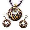 Violet Open-Cut Disk Enamel Organza Cord Necklace & Drop Earrings Set