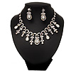Vintage AB/Clear Crystal Droplet Necklace & Earrings Set In Rhodium Plated Metal