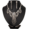 Bridal Swarovski Crystal Flower Tassel Necklace & Earrings Set In Rhodium Plated Metal