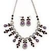 Vintage AB/Purple Crystal Droplet Necklace & Earrings Set In Rhodium Plated Metal