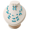 Azure Crystal Floating Bead Necklace & Drop Earring Set - 52cm Length