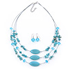 Turquoise Stone And Crystal Floating Bead Necklace & Drop Earring Set - 50cm Length (5cm extension)