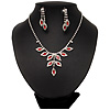 Bridal Red/Clear Diamante Floral Necklace & Earrings Set In Silver Plating