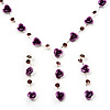 Delicate Y-Shape Light Purple Rose Necklace & Drop Earring Set