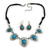 Turquoise Bead Black Cotton Cord Necklace & Drop Earring Set (Burn Silver Finish) - 42cm Length