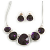Deep Purple Diamante Wire Necklace And Stud Earring Set (Silver Tone Metal) - 32cm Length (6cm Extender)