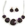 Deep Purple Diamante Wire Necklace And Stud Earring Set (Silver Tone Metal) - 32cm Length (6cm Extender)