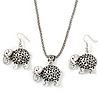 Silver Plated Filigree 'Elephant' Pendant Necklace & Drop Earrings Set - 40cm Length (6cm extender)