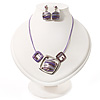 Purple Enamel Diamante Geometric Necklace & Drop Earrings Set In Rhodium Plated Metal - 34cm Length (6cm extender)