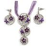 'Triple Circle' Floral Pendant Necklace On Cotton Cord & Drop Earrings Set - 36cm Length (6cm extender)