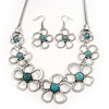 Silver Plated Turquoise Bead Floral Necklace & Drop Earrings Set - 38cm Length (6cm extender)