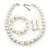 Chunky White Simulated Glass Pearl With Diamante Ring & Clear Crystal Necklace, Bracelet & Earrings Set In Silver Tone Metal - 38cm Length (4cm extens