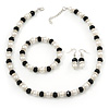 White Imitation Pearl & Black Glass Bead With Diamante Ring Necklace, Bracelet & Earrings Set (Silver Tone Metal)