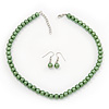 Light Green Glass Bead Necklace & Drop Earring Set In Silver Metal - 38cm Length/ 4cm Extension