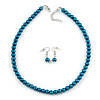 Teal Green Glass Bead Necklace & Drop Earring Set In Silver Metal - 38cm Length/ 4cm Extension