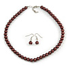 Chocolate Brown Glass Bead Necklace & Drop Earring Set In Silver Metal - 38cm Length/ 4cm Extension