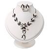 Bridal Y-Shape Light Cream Faux Pearl Diamante Necklace & Stud Earring Set In Black Metal