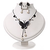 Romantic Faux Pearl 'Butterfly' Necklace & Drop Earrings Set In Black Metal