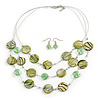 3 Strand Grass Green Shell & Bead Wire Necklace & Drop Earrings Set In Silver Plating