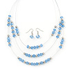 Light Blue/Silver Metal Bead Multistrand Floating Necklace & Drop Earrings Set