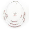 Light Pink/Transparent/Silver Metal Bead Multistrand Floating Necklace & Drop Earrings Set