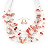 Light Pink/ Transparent Semiprecious Stone & Silver Metal Bead Multistrand Necklace & Drop Earrings Set