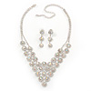 Bridal AB/Clear Swarovski Crystal Bib Necklace & Drop Earrings Set In Silver Plating
