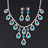 Bridal Teal/Clear Diamante 'Teardrop' Necklace & Earrings Set In Silver Plating