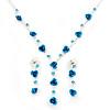 Delicate Y-Shape Blue Rose Necklace & Drop Earring Set
