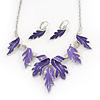 Purple/Violet Blue Enamel 'Leaf' Necklace & Drop Earrings Set In Silver Plating - 40cm Length/ 6cm Extension