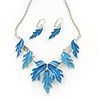 Blue/Sky Blue Enamel 'Leaf' Necklace & Drop Earrings Set In Silver Plating - 40cm Length/ 6cm Extension