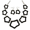 Black Enamel 'Star' Necklace & Drop Earrings Set In Silver Plating - 38cm Length/ 6cm Extension