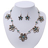 Burn Silver Textured 'Flower' Necklace & Drop Earrings Set With Blue Crystals - 40cm Length / 6cm Extension