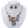 Burn Gold Diamante 'Flower' Necklace With Blue Stones & Stud Earrings Set - 42cm Length/ 6cm Extension