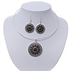 Black Medallion Flex Wire Necklace & Earrings Set In Silver Plating - Adjustable