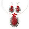 Large Coral Red Oval Medallion Flex Wire Necklace & Earrings Set In Silver Plating - Adjustable
