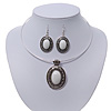 White Oval Medallion Flex Wire Necklace & Earrings Set In Silver Plating - Adjustable